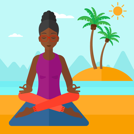 concentrating: An african-american woman meditating in lotus pose on the beach vector flat design illustration. Square layout. Illustration