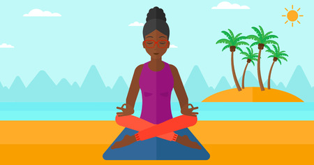 lotos: An african-american woman meditating in lotus pose on the beach vector flat design illustration. Horizontal layout.