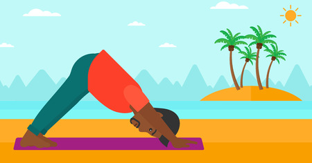 An african-american man standing in yoga downward facing dog pose on the beach vector flat design illustration. Horizontal layout.
