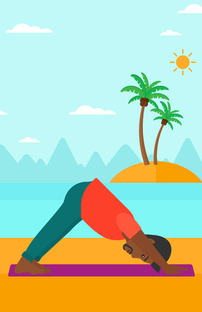 facing: An african-american man standing in yoga downward facing dog pose on the beach vector flat design illustration. Vertical layout. Illustration