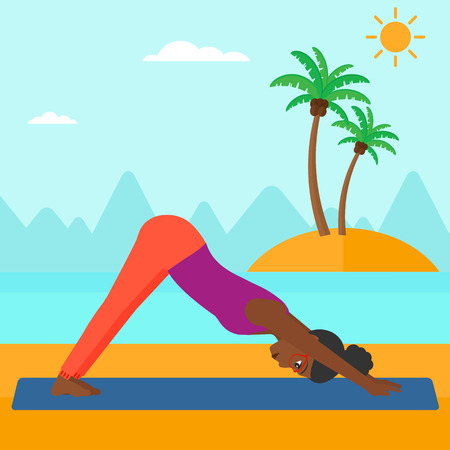 downward: An african-american woman standing in yoga downward facing dog pose on the beach vector flat design illustration. Square layout.