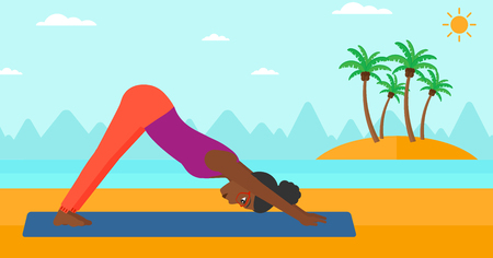 facing: An african-american woman standing in yoga downward facing dog pose on the beach vector flat design illustration. Horizontal layout.