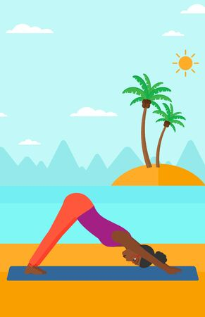 An african-american woman standing in yoga downward facing dog pose on the beach vector flat design illustration. Vertical layout. Illustration