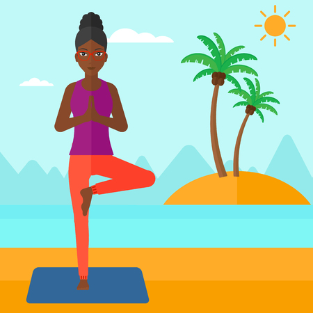 An african-american woman standing in yoga tree pose on the beach vector flat design illustration. Square layout.