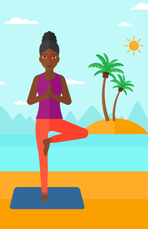 flexible woman: An african-american woman standing in yoga tree pose on the beach vector flat design illustration. Vertical layout.