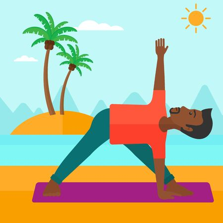 man meditating: An african-american man meditating in yoga triangle pose on the beach vector flat design illustration. Square layout.