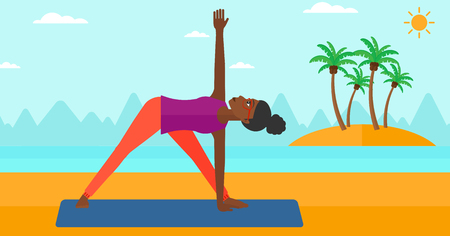 An african-american woman meditating in yoga triangle pose on the beach vector flat design illustration. Horizontal layout.