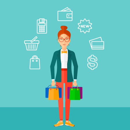 woman holding money: A woman with bags and some shopping icons around her on a blue background vector flat design illustration. Square layout.