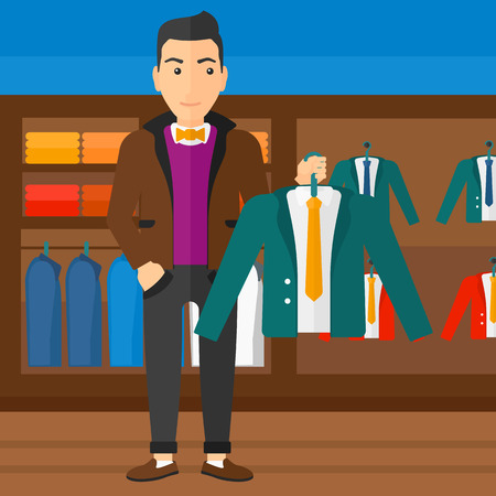 choosing clothes: A man holding a hanger with a jacket on the background of clothes store vector flat design illustration. Square layout.