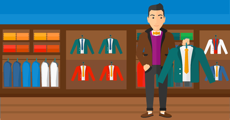 choosing clothes: A man holding a hanger with a jacket on the background of clothes store vector flat design illustration. Horizontal layout.