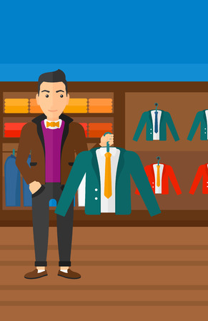 choosing clothes: A man holding a hanger with a jacket on the background of clothes store vector flat design illustration. Vertical layout.