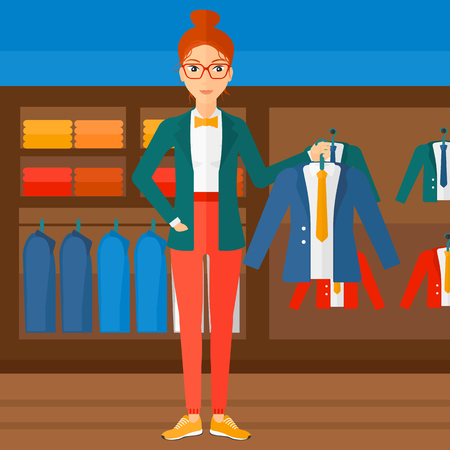 choosing clothes: A woman holding a hanger with a jacket on the background of clothes store vector flat design illustration. Square layout. Illustration