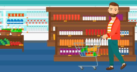 Un uomo pantaloni a vita bassa con la barba che spinge un carrello supermercato con alcuni beni in esso sullo sfondo di scaffali dei supermercati con prodotti di vettore piatta design illustrazione. layout orizzontale.