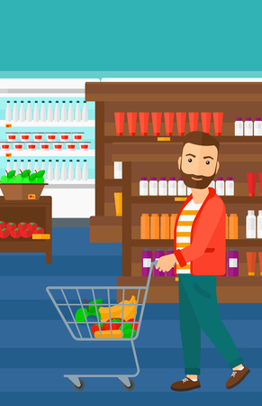 fruit background: A hipster man with the beard pushing a supermarket cart with some goods in it on the background of supermarket shelves with products vector flat design illustration. Vertical layout.
