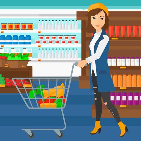 mujer en el supermercado: Una mujer empujando un carrito de supermercado con algunos bienes en ella en el fondo de los estantes del supermercado con productos vector Ilustración diseño plano. de planta cuadrada. Vectores