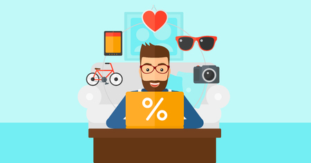 A hipster man with the beard sitting in front of laptop with some icons of goods around him on the background of living room vector flat design illustration. Horizontal layout.