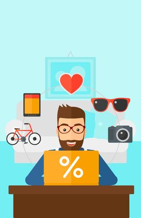 A hipster man with the beard sitting in front of laptop with some icons of goods around him on the background of living room vector flat design illustration. Vertical layout.
