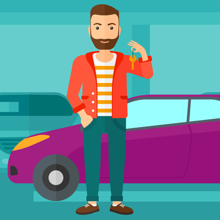 A hipster man with the beard holding keys from his new car on the background of car shop vector flat design illustration. Square layout.