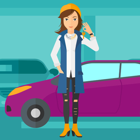 A woman holding keys from her new car on the background of car shop vector flat design illustration. Square layout.