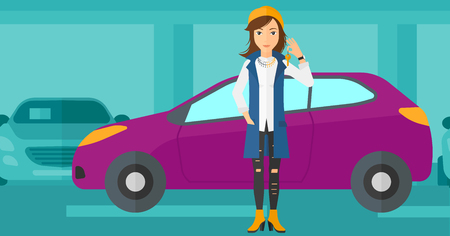 cartoon women: A woman holding keys from her new car on the background of car shop vector flat design illustration. Horizontal layout. Illustration