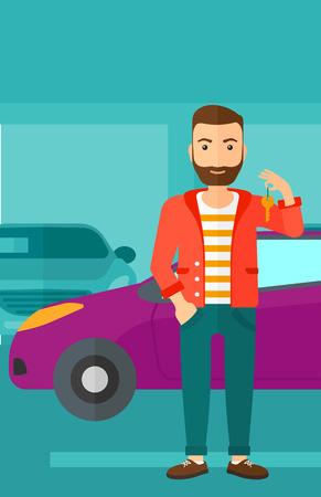 Een hipster man met de baard die sleutels van zijn nieuwe auto op de achtergrond van de auto winkel vector platte ontwerp illustratie. Verticale lay-out. Stock Illustratie