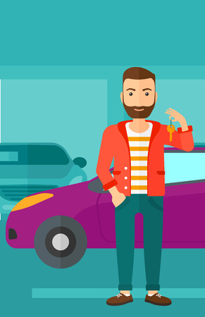 A hipster man with the beard holding keys from his new car on the background of car shop vector flat design illustration. Vertical layout.