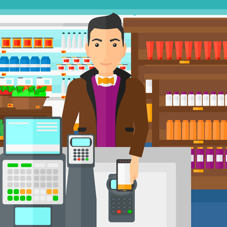 customer service phone: A man paying with his smartphone using terminal on the background of supermarket shelves with products vector flat design illustration. Square layout.