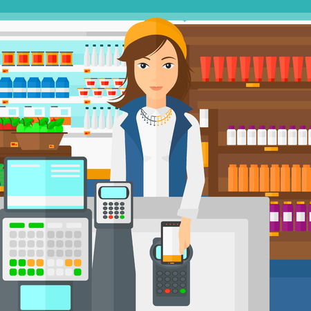 A woman paying with his smartphone using terminal on the background of supermarket shelves with products vector flat design illustration. Square layout. Illustration