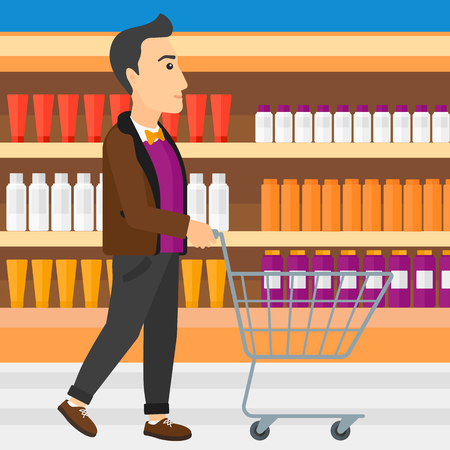 toiletry: A man pushing an empty supermarket cart on the background of shelves with toiletry in supermarket vector flat design illustration. Square layout.