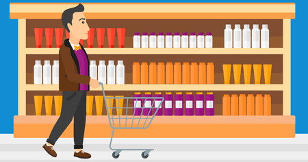 toiletry: A man pushing an empty supermarket cart on the background of shelves with toiletry in supermarket vector flat design illustration. Horizontal layout.