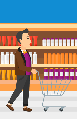toiletry: A man pushing an empty supermarket cart on the background of shelves with toiletry in supermarket vector flat design illustration. Vertical layout.