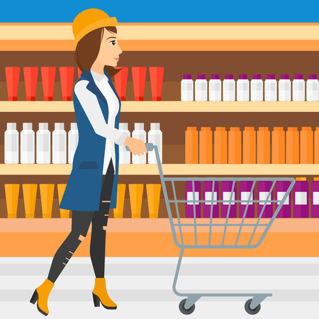 toiletry: A woman pushing an empty supermarket cart on the background of shelves with toiletry in supermarket vector flat design illustration. Square layout.