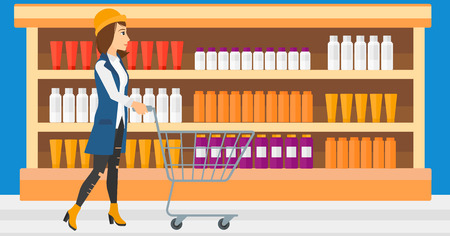 toiletry: A woman pushing an empty supermarket cart on the background of shelves with toiletry in supermarket vector flat design illustration. Horizontal layout.