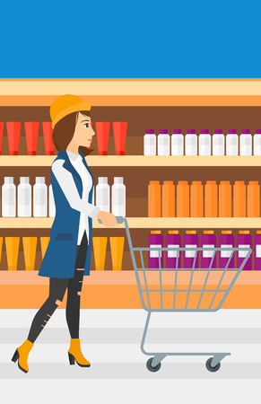 toiletry: A woman pushing an empty supermarket cart on the background of shelves with toiletry in supermarket vector flat design illustration. Vertical layout.