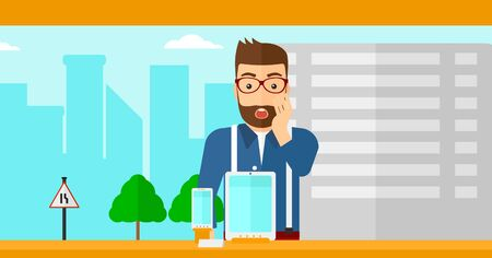 astonished: An astonished hipster man with the beard looking at digital tablet and smartphone through the shop window on a city background vector flat design illustration. Horizontal layout.