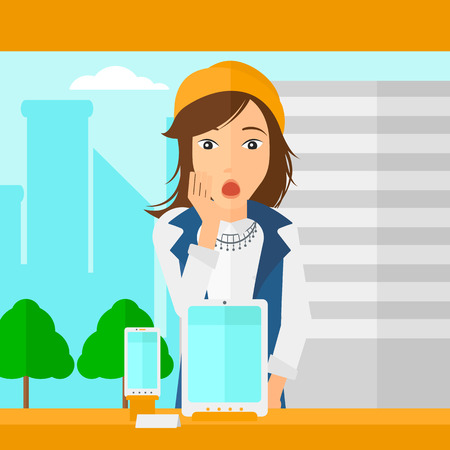 astonished: An astonished woman looking at digital tablet and smartphone through the shop window on a city background vector flat design illustration. Square layout.