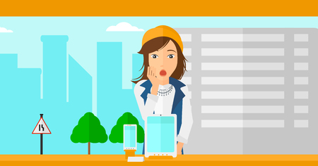 astonished: An astonished woman looking at digital tablet and smartphone through the shop window on a city background vector flat design illustration. Horizontal layout.