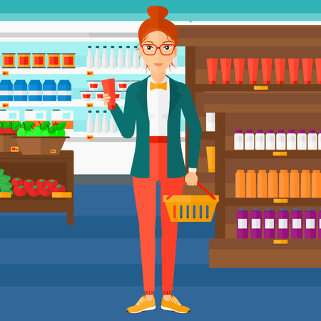 grocery store: A woman holding a shopping basket in one hand and a tube of cream in another on the background of supermarket shelves with products vector flat design illustration. Square layout.