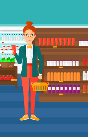 business products: A woman holding a shopping basket in one hand and a tube of cream in another on the background of supermarket shelves with products vector flat design illustration. Vertical layout.