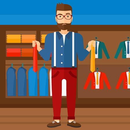 choosing clothes: A hipster man with the beard holding two different neckties and trying to choose the best one  on the background of clothes store vector flat design illustration. Square layout. Illustration