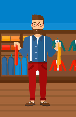 choosing clothes: A hipster man with the beard holding two different neckties and trying to choose the best one  on the background of clothes store vector flat design illustration. Vertical layout.