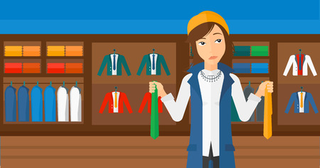 choosing clothes: A woman holding two different neckties and trying to choose the best one  on the background of clothes store vector flat design illustration. Horizontal layout. Illustration