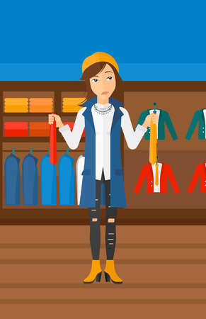 A woman holding two different neckties and trying to choose the best one  on the background of clothes store vector flat design illustration. Vertical layout.