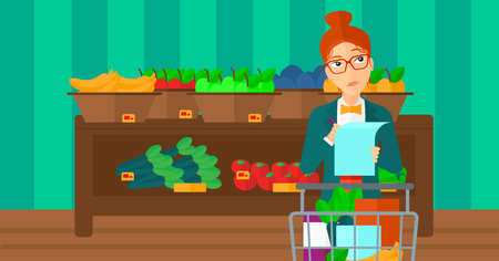 supermarket trolley: A thoughtful woman standing with full supermarket trolley and holding a shopping list in hands on the background of shelves with vegetables and fruits in supermarket vector flat design illustration. Horizontal layout. Illustration