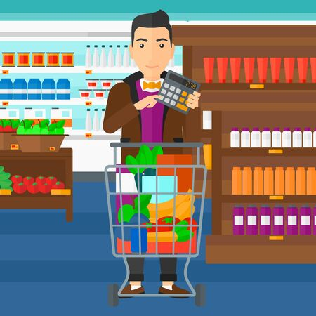 A man standing near shopping cart and holding a calculator in hands on the background of supermarket shelves with products vector flat design illustration. Square layout.
