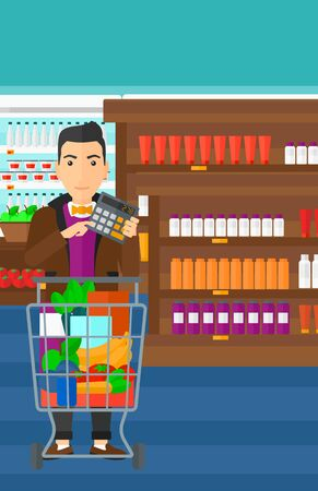expensive food: A man standing near shopping cart and holding a calculator in hands on the background of supermarket shelves with products vector flat design illustration. Vertical layout. Illustration