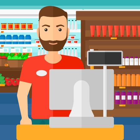 Een verkoper die zich bij de kassa op de achtergrond van de schappen van de supermarkt met producten vector platte ontwerp illustratie. Vierkante lay-out. Vector Illustratie