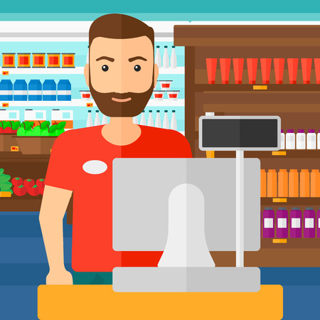 A salesman standing at checkout on the background of supermarket shelves with products vector flat design illustration. Square layout.