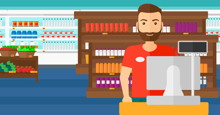 A salesman standing at checkout on the background of supermarket shelves with products vector flat design illustration. Horizontal layout.
