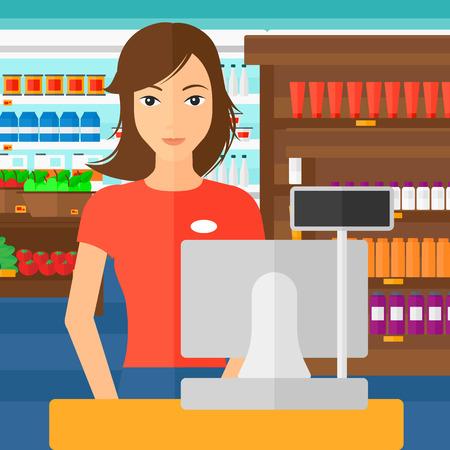 Una commessa in piedi alla cassa sullo sfondo di scaffali dei supermercati con prodotti di vettore piatta design illustrazione. pianta quadrata. Vettoriali